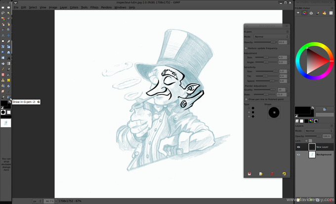 Line Drawing Gimp : Comics inking and coloring with gimp david revoy