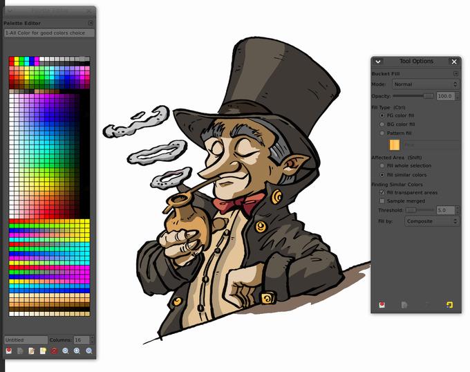 Line Art Using Gimp : Comics inking and coloring with gimp david revoy