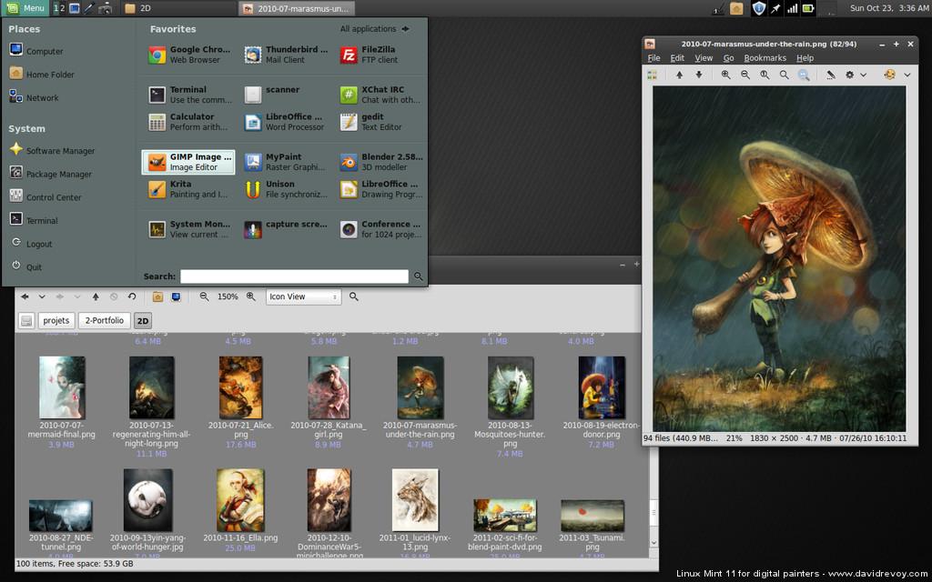 Linux Mint 11 for digital painting - David Revoy