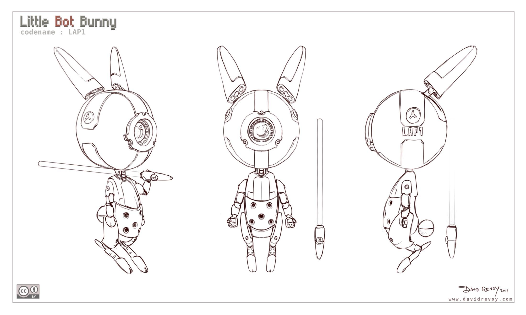 Easy Character Modeling Blender : Free d model sheet little bot bunny david revoy