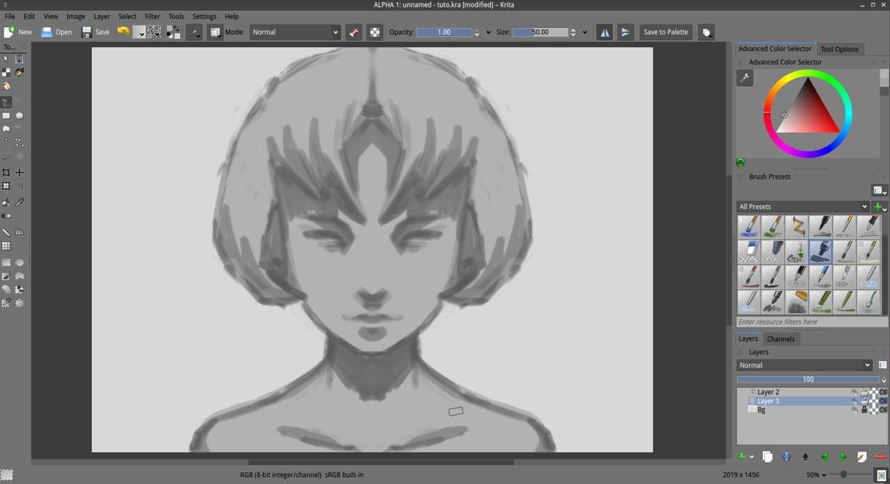 Quick sketch and inking in Krita - YouTube
