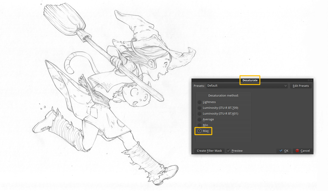 Drawing Lines In R : From blue sketch to digital in krita david revoy