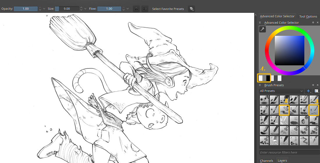 Digital Painting Without Lineart : From blue sketch to digital in krita david revoy