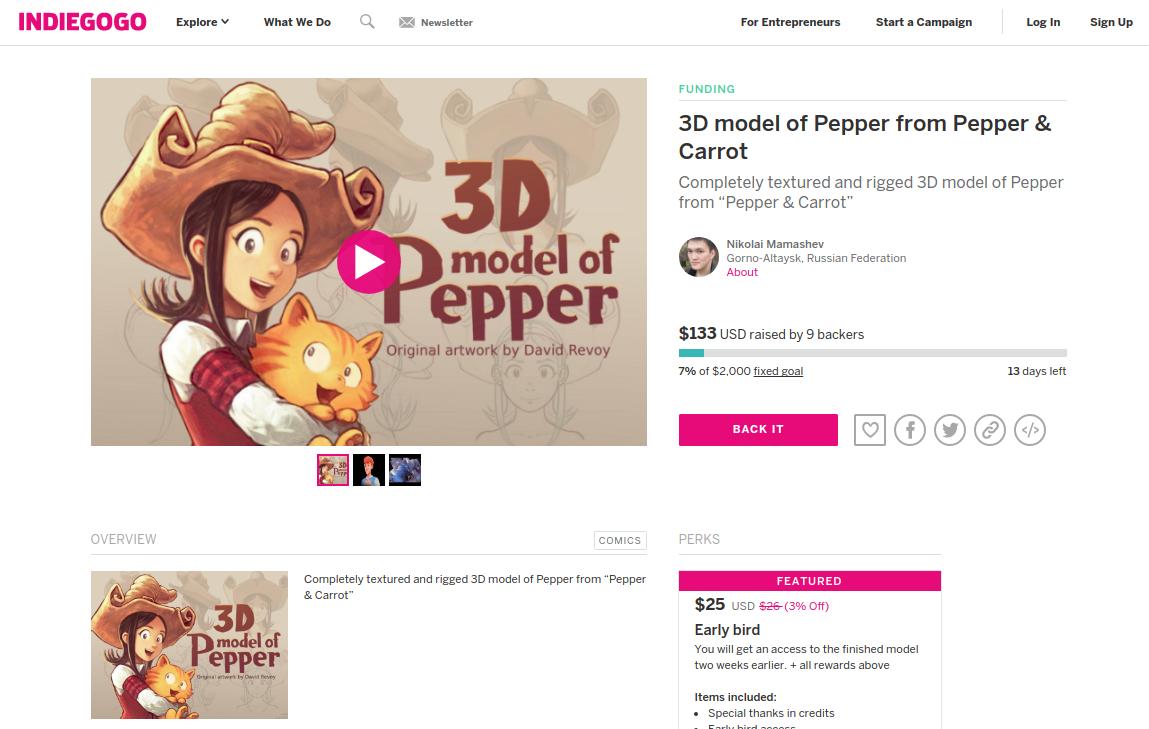 3D model Indiegogo campaign by Nikolai Mamashev - David Revoy