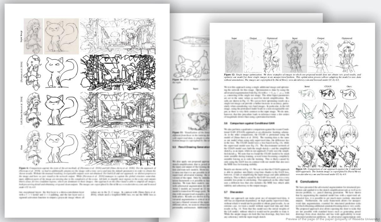 Scientific paper sketch to line art by waseda university david revoy