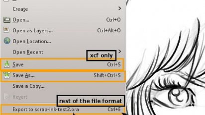 Save / Export in Gimp 2.8 :
