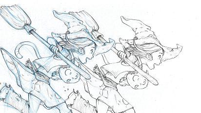 From blue sketch to digital in Krita