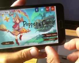 Pepper&Carrot derivation: an Android e-reader app by Interactive Box
