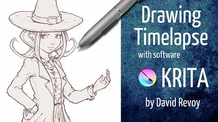 Drawing timelapse and inking with krita, commented