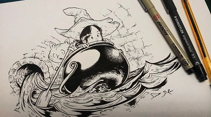 The Cauldron (traditional inking, Pepper&Carrot drawing)