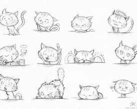 Sketches for international Cat Day