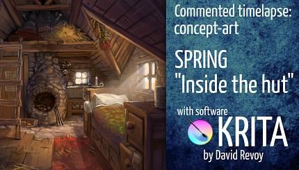 Krita Spring concept-art timelapse commented.